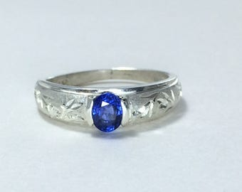 Sapphire solitaire engagement ring Engraved engagement ring Blue sapphire jewelry