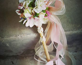 Blush Ivory Mini Magnolia Flower Girl Pom Wand Custom Order