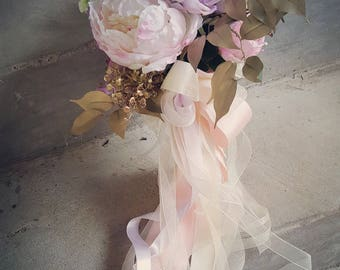 Blush Lilac Rose Peony Champagne Bridal Bouquet Custom Order