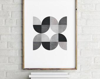 Geometric Art Print, Scandinavian Print, Black and White, Digital Download Large Downloadable Poster, Instant Download, Minimal Design Print