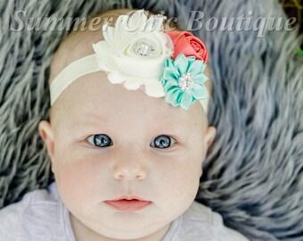 Baby Headband, Ivory, Coral, and Aqua Headband,  Infant Headband, Newborn Headband, Easter Headband, Coral and Aqua Headband, Ivory Headband