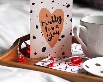 I Really Love You Heart Card A6 | Galentines Palentines Polkadot Handlettering Calligraphy Dalmatian Spot Polka Dot Pink Mum Mom Sister Love