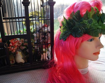 Pinup Summer Headband, Poison Ivy Costume, Leafy Hippie Headband