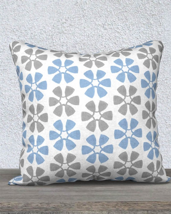 Baby Boy Nursery Pillow in Blue and Gray