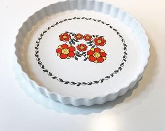 Vintage Taunton Vale Large Ceramic Flan Dish with Orange Floral Design