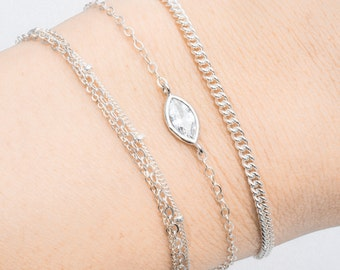 Kalala bracelet - silver bracelet, solitaire silver bracelet, sterling silver bracelet, dainty bracelet, delicate bracelet, cz bracelet