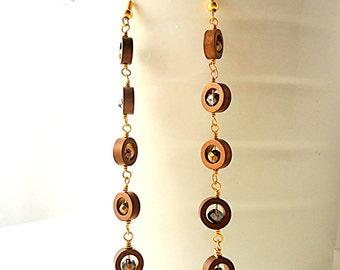 Gold earrings, long earrings, chocolate brown earrings, hematite earrings, circle earrings, geometric earrings, glam earrings