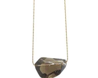 Smoky Quartz Necklace, Crystal Necklace, Floating Necklace, Quartz Jewelry, Stone Necklace, Boho Jewelry