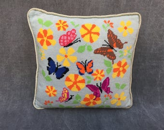 """60's Needlepoint Pillow Butterfly Butterflies on Ice Blue Velvet Piping and Back - 16"""" Square"""
