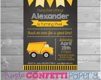 Truck Birthday Invitation, Truck Party, Chalkboard, Construction Invite, Construction Birthday, Dump Truck, Construction Party, Printable