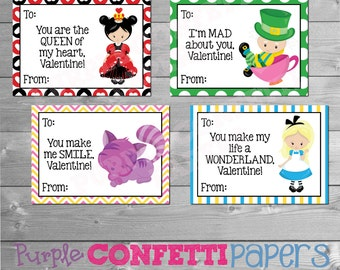 Alice in Wonderland Valentine's Day Cards, Printable Alice in Wonderland Valentine's Day Cards, Mad Hatter, Cheshire Cat, Queen of Hearts