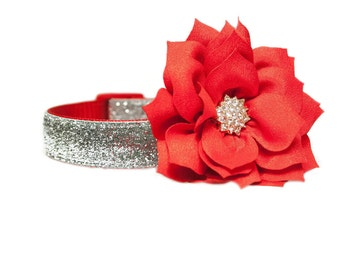 """Red Lotus Flower Accessory for 3/4"""", 1"""" or 1-1/2"""" Dog Collar"""