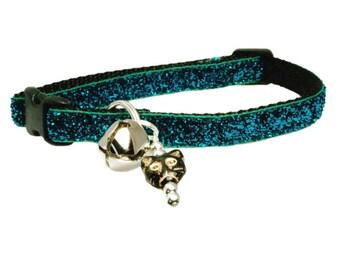 """Turquoise Glitter Cat Collar 3/8"""" Black Cat Collar"""