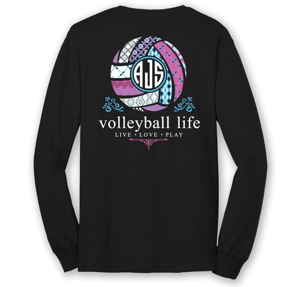 Official tm volleyball life custom monogram long sleeve for Volleyball custom t shirts