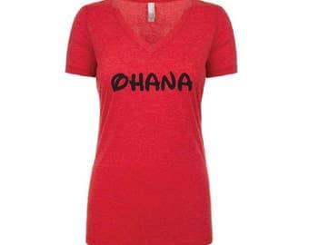 Ohana Family Shirt - Womens T-Shirt. Long Length Tee. Black, White, Red