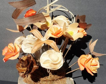 Hand carved wood flowers