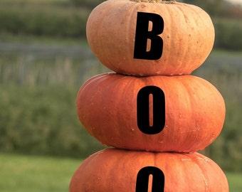 Boo Personalized Fall Halloween Pumpkin Monogram Decals - Custom Pumpkin Decals