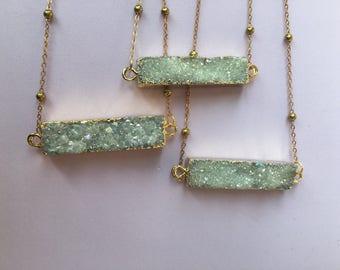 Rectangle Druzy Pendant Necklace - Brass Satellite Chain, Bar Necklace