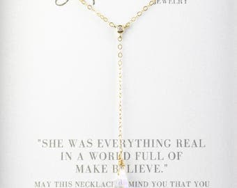 Swarovski Crystal 14K Gold Filled Lariat Necklace