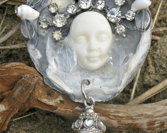 Mermaid's Grotto OOAK Wearable Art Assemblage Crystal Mermaid Goddess Oyster Shell Brooch