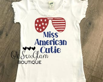 Miss American Cutie - Girls Fourth Of July Shirt - American Cutie Shirt - Personalized Shirt - 4th go July Shirt - Patriotic Shirt