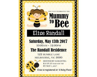 Bee Baby Shower Invitations - Printable - Bee Invitation - Emailed to You in 1 Business Day or Less