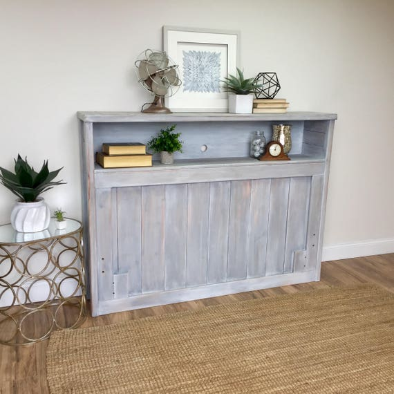 Headboard for Full Bed - Gray Headboard with Storage - Coastal Furniture - Headboard with Shelf - Country Cottage Furniture - Distressed