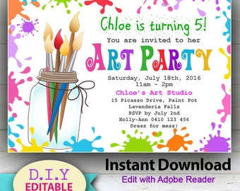 EDITABLE - Printable Art Party Invitation. Children's invitations. Bright, Edit with Adobe Reader. INSTANT DOWNLOAD, Paint
