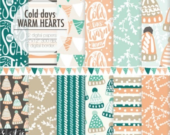 Winter hats, mittens digital paper. Tis the season, Cold days warm hearts hand lettering digital download kit to make planner sticker.