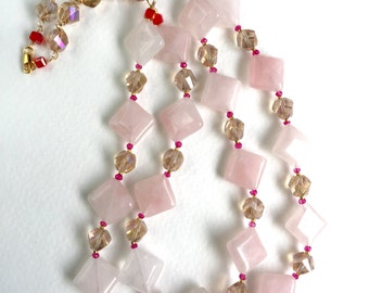 Pantone 2016 Rose Quartz and Crystal Statement Necklace by KarenWhalenDesigns
