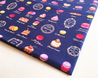 Sweets Macaroon, Cake Fabric, Donut Candy Pie Strawberry fabric cotton, kid dress, girl fabric, baby shower, restaurant decoration, CT617