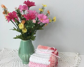 Ashes of Rose Cotton Crochet Washcloths - Baby Girl Shower Gifts - Hand Crochet Washcloths