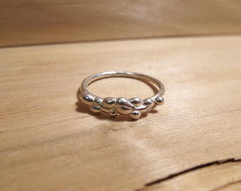 Sterling Silver Pebble Ring, Stackable Ring