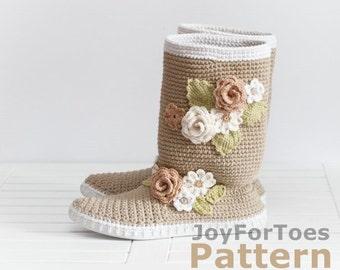 "Crochet Pattern JoyForToes ""Boho Chic Shoes"", size: 38 EUR, 8 US (street-shoes)"