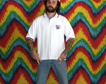 sean john short sleeve polo golf minamalist white shirt preppy retro mens or womens hip