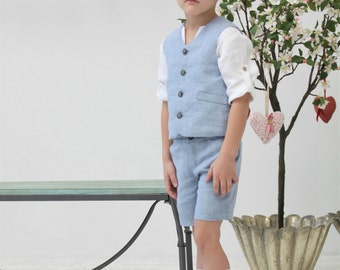Ring bearer outfit Toddler boy vest and shorts Wedding party outfit Boys linen suit Family Photo Baptism Birthday party Page boy outfit