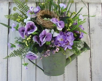 Pail Wreath, Summer Wreath, Watering Can Wreath, Farmhouse Wreath, Purple Wreath, Pansy, Wall Pocket, Shabby Chic Wreath, Country Wreath