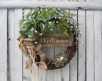Spring Door Wreath - Farmhouse Wreath - Summer Wreath - Rustic Country  Wreath- Spring Summer Door Wreath - Year Round  Wreaths