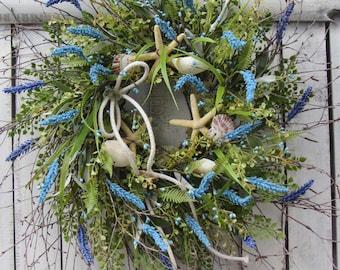 Beach Wreath - Summer Wreath - Summer Door Wreath - Cottage Wreath - Seashell Wreath - Beach Cottage Wreath - Summer Beach Wreath - Wreath