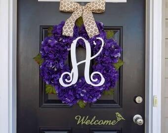 Spring Wreath, Purple Hydrangea Wreath, Easter Wreath, Monogram Wreath, Summer Wreath, Front Door Wreath, Wedding Decor, Floral Wreath