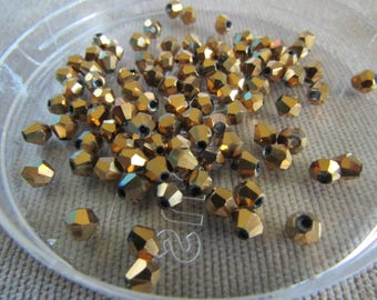 4mm Gold Bicones (100) Gold Glass Crystals Gold Crystal Beads Loose Beads Faceted Crystals for Jewelry Making