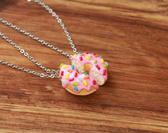 Donut friendship necklaces with pink frosting rainbow sprinkles - food jewelry, friendship necklaces, friend necklace, friendship necklace
