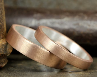 Wedding Ring Set Flat Pipe Cut Satin, Matte Finish 18K Rose Gold over 925 Silver Matching His & Hers Thick Wedding Bands - FREE Engraving