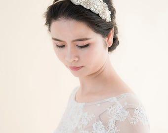 Beaded Vintage Bridal Headband, One-of-a-kind, Wedding Headband, Bridal Headband, Wedding Accessories, Engaged Bridal Hairpiece, #2011