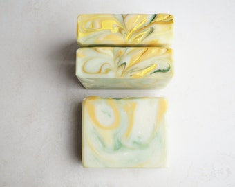 Lemon Seed & Parsley Soap Bar -  Fresh Lemon Zest and Seeds, Tender Parsley Scent - Natural Cold Process Soap with Shea Butter, Vegan