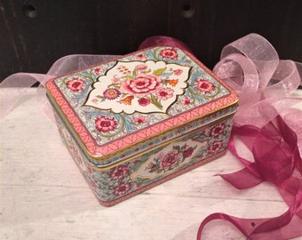 Small Embossed Blue and Pink Tin Box, Floral Tin Flowers, Vintage Tin Box, Small Trinket Box, Romantic Home, Cottage Chic