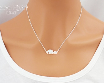 Dainty mother daughter elephant necklace, choose rose gold or silver. Dainty mother child elephant necklaces.