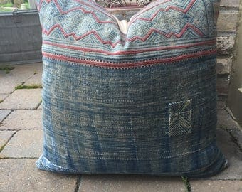 rare Faded Hmong embroidered batik pillow cover