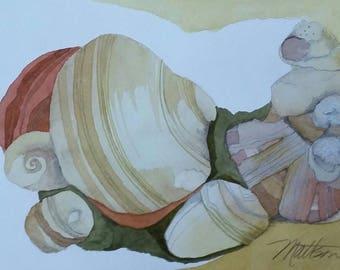"Padre Island Series ""Tumbling Along"" original one of a kind watercolor"
