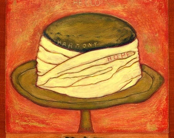 H is for HAT, hand-signed print of original artwork